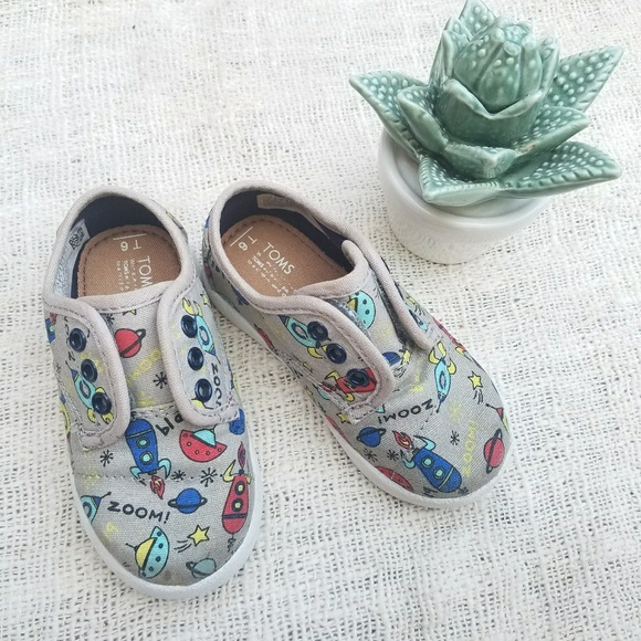 2afc7ca5f727b TOMS Rocket Ship Space Velcro Toddler Shoes